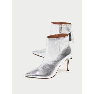 NWT Zara Size 6.5 Silver Stiletto Heel Ankle Boots
